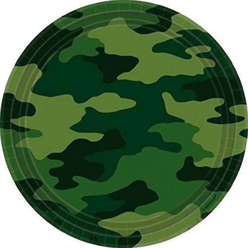 Set da 8 piatti mimetici militari, per feste a tema, in cartoncino