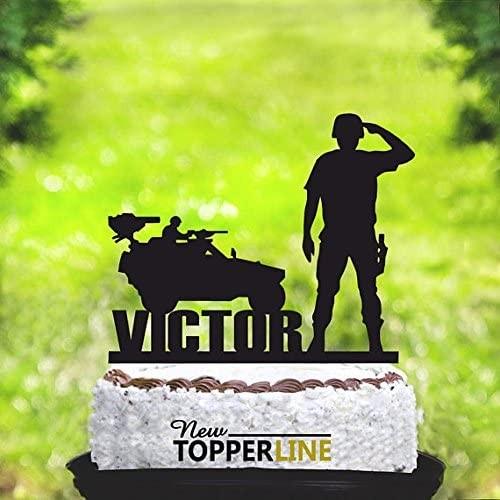 Cake topper stile militare, per torte di compleanno