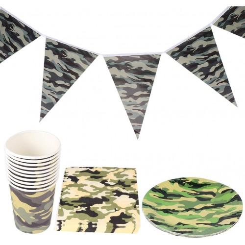 Kit per 10 persone tema Militare, set per feste con accessori