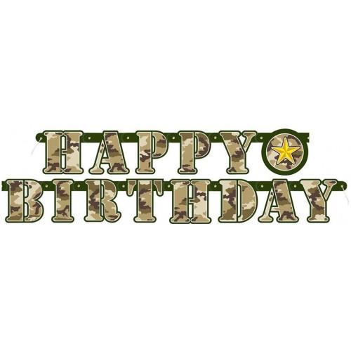 Festone Happy Birthday stile militare da 1,6 metri, per feste a tema