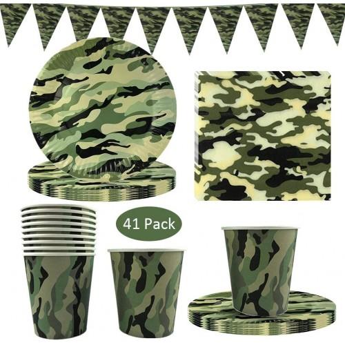 Kit per 10 invitati festa Militare, mimetico, esercito