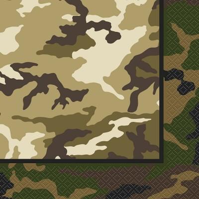 Set da 16 tovaglioli tema militare, soldati, camouflage