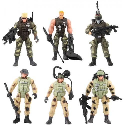 Set di 6 Action Figure Soldati da combattimento, da 10 cm