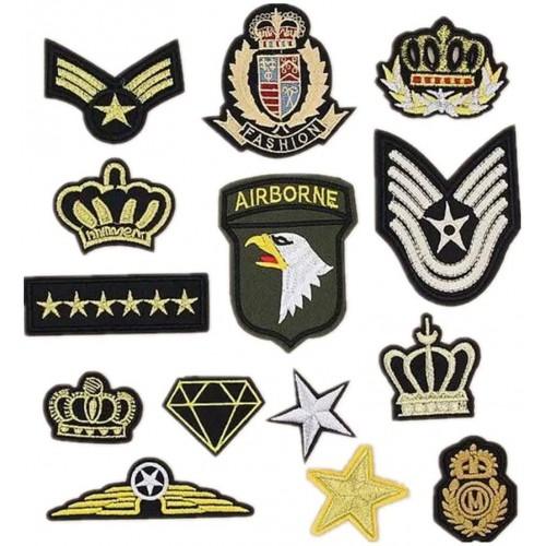 Set con 14 Patch, toppe esercito militare, termoadesive