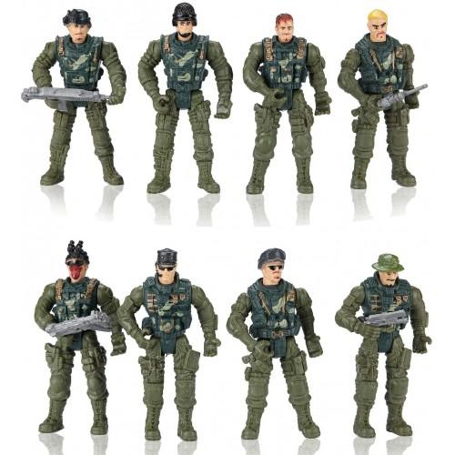 Set da 8 modellini giocattolo soldatini militari, con accessori