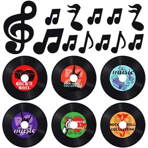 Set da 42 decorazioni Note Musicali e dischi in vinile vintage