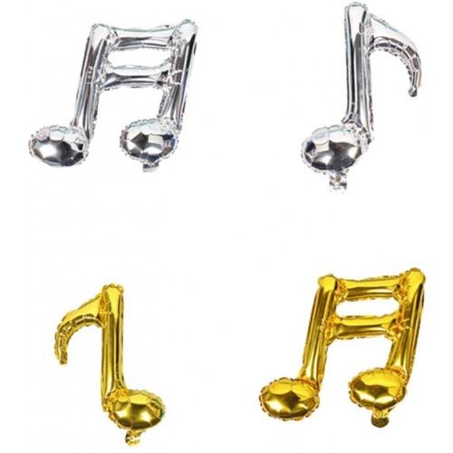 Set da 4 palloncini Note Musicali, in alluminio, per feste