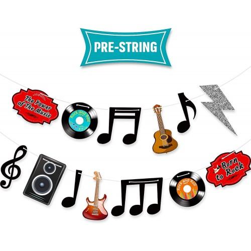 Festone banner tema Rock And Roll e Note Musicali