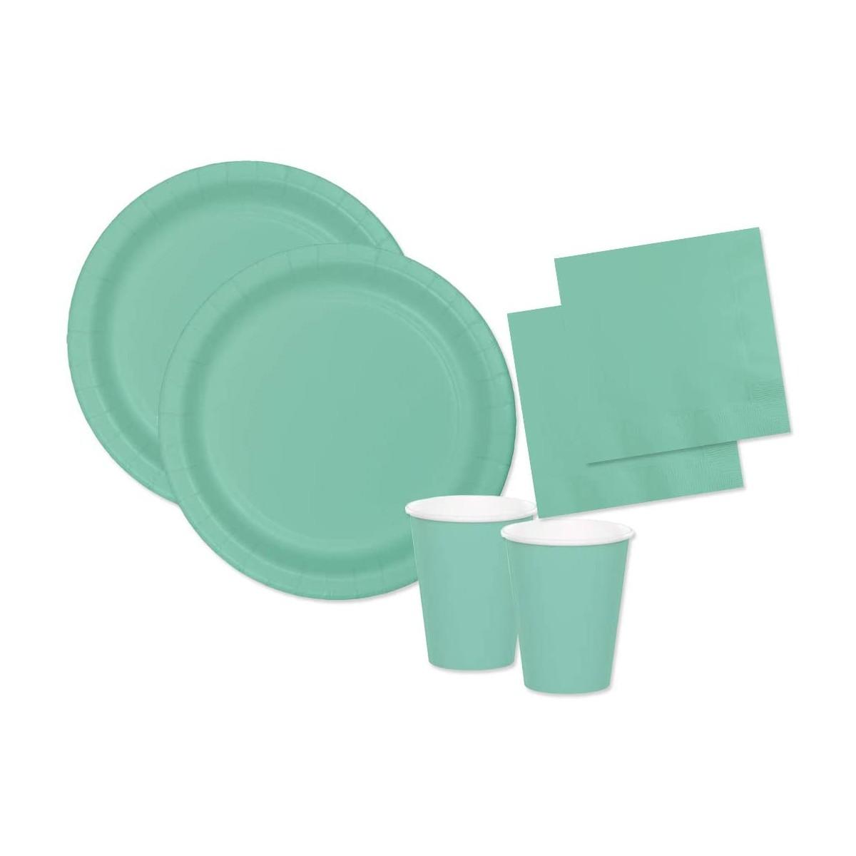 Kit per 80 persone festa Verde Tiffany, acqua marina, coordinato tavola