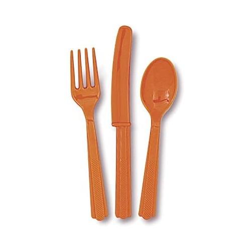 Set 18 posate di plastica arancioni, usa e getta, per feste
