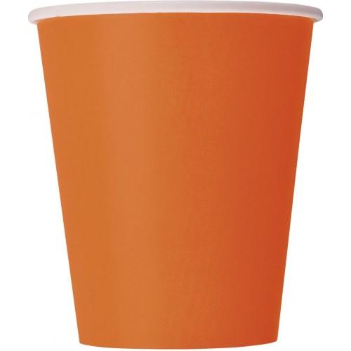 Set di 14 Bicchieri arancioni in cartoncino, da 266 ml, per feste