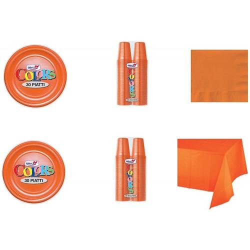 Kit festa per 30 persone colore arancione, tinta unita, articoli per la tavola