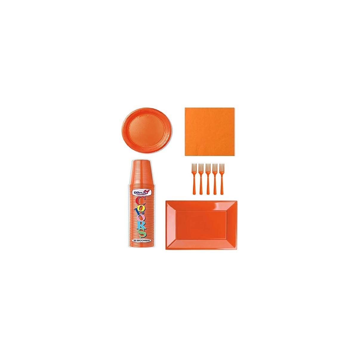 Kit festa per 30 persone colore arancione, tinta unita