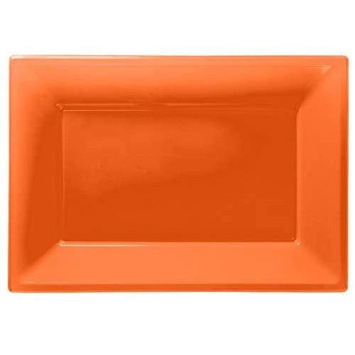 Set da 3 vassoi colore arancione, in plastica, per feste