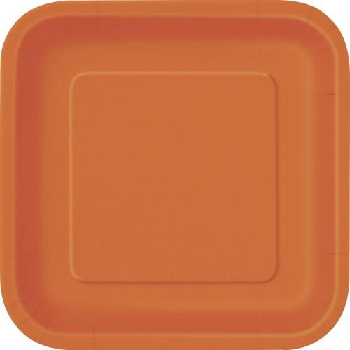 Set da 16 Piatti quadrati arancioni di plastica, per feste di compleanno o aperitivi