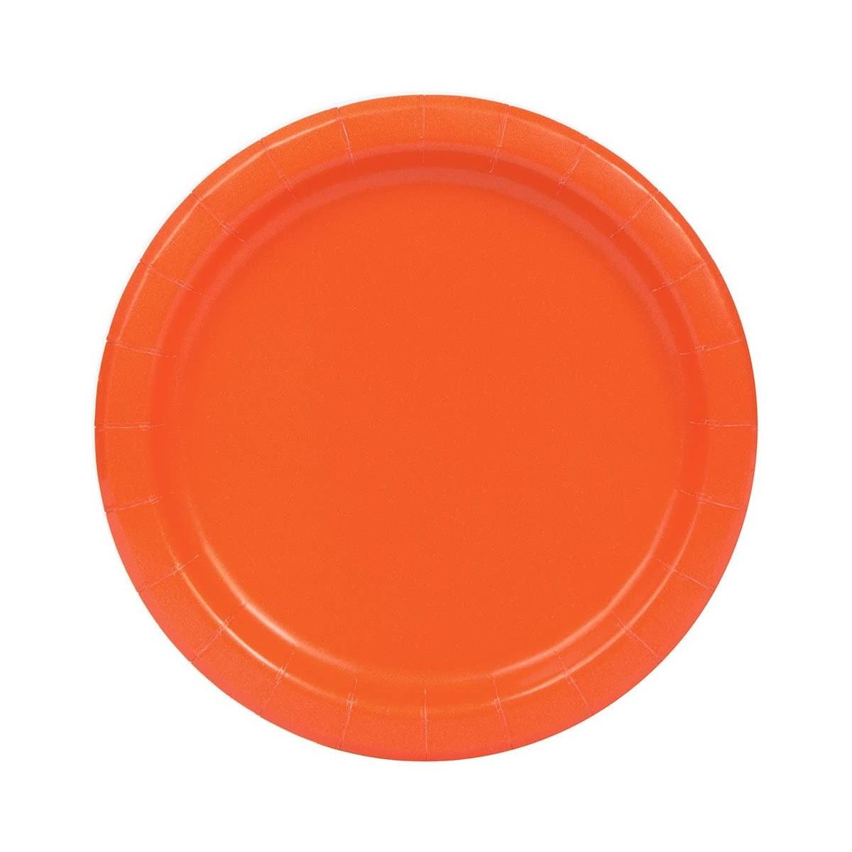 Set da 16 piatti tondi arancioni di plastica, da 22 cm, per feste