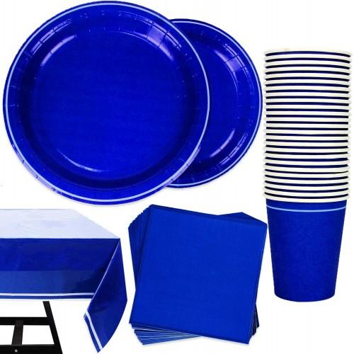 Set festa per 25 persone colore blu elettrico, coordinato tavola