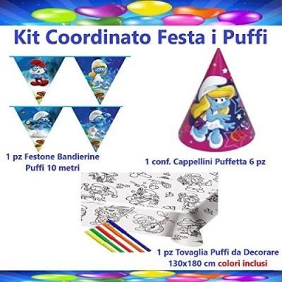 Set festa Puffi con cappellini di carta