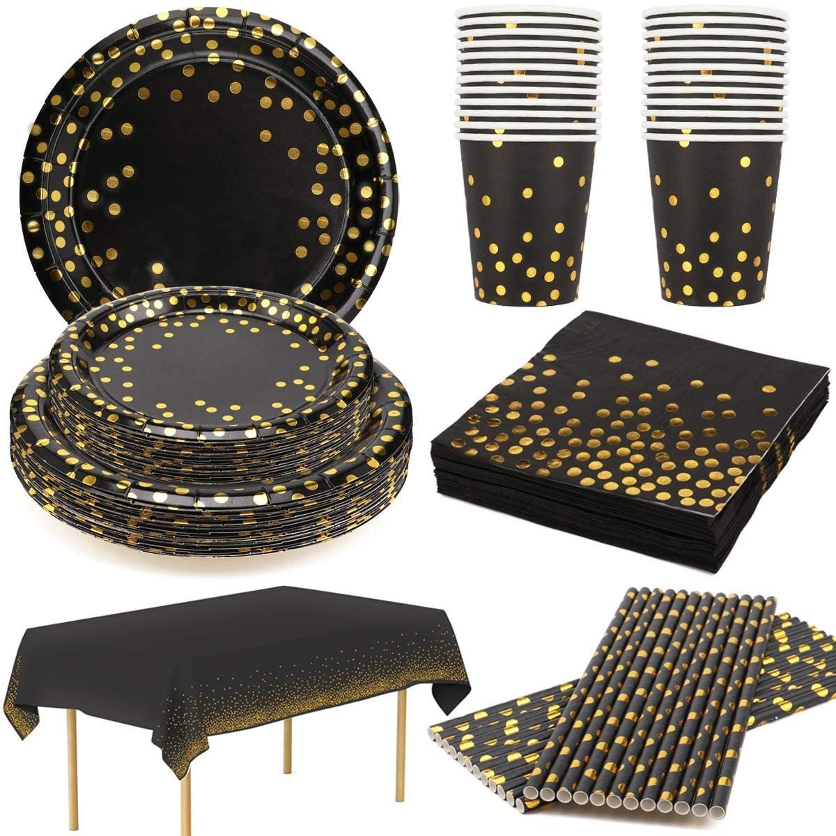 Kit festa 24 ospiti oro nero, festa Chic, set tavola