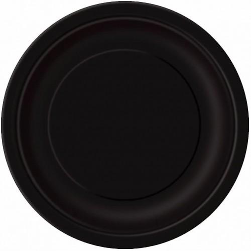 Set da 16 piatti neri in cartoncino da 23 cm, per feste a tema