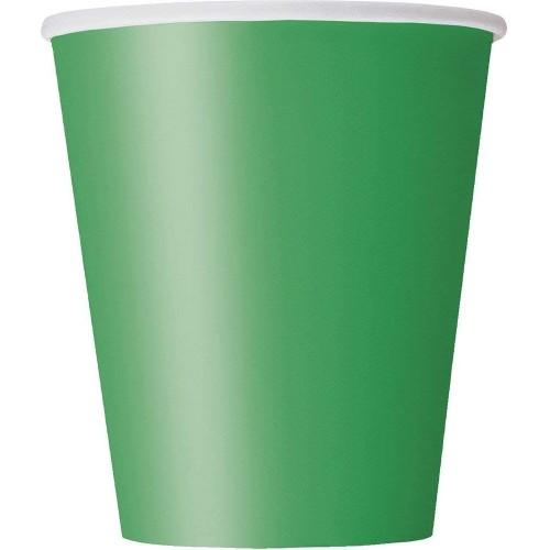 Set di 8 bicchieri verde scuro, da 266 ml, per feste a tema