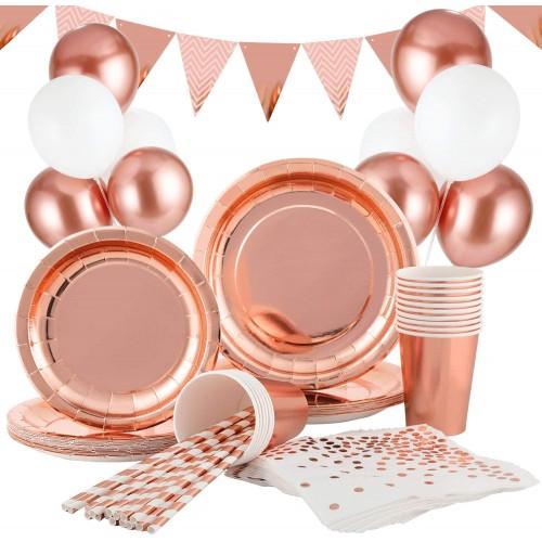 Kit festa 16 invitati festa rosa gold Chic, stoviglie e decorazioni