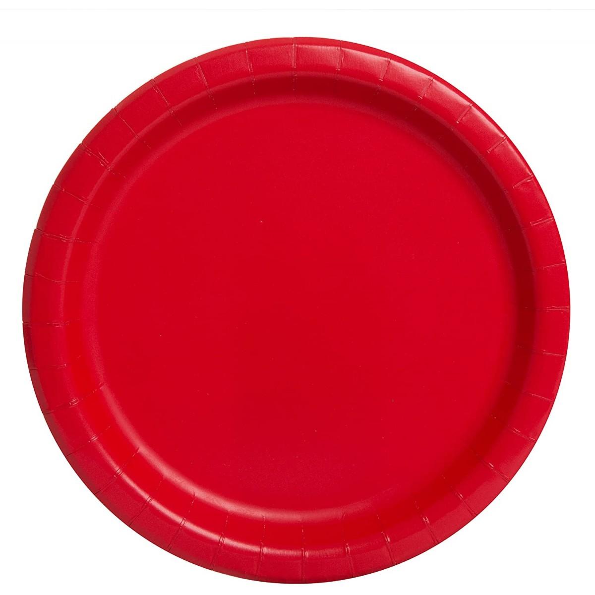 Set da 16 piatti rossi in cartoncino, per feste, da 23 cm