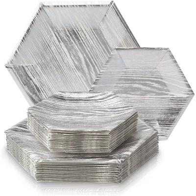Set da 36 piatti in legno argento, per feste Chic
