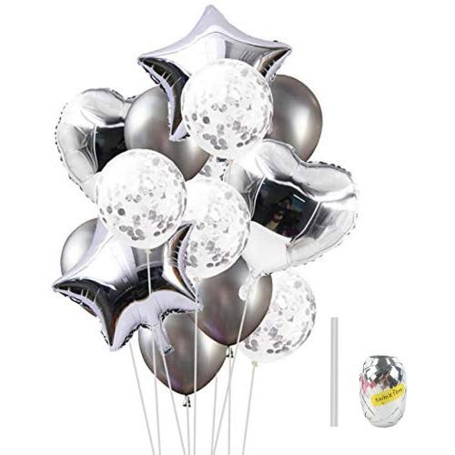 Set da 14 palloncini argento per feste