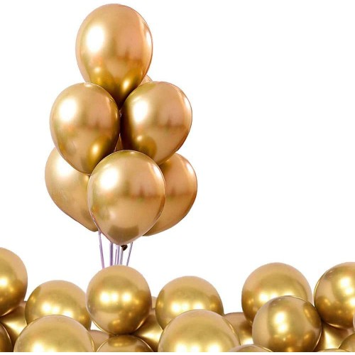Set da 50 Palloncini Metallici dorati, in lattice, ecologici