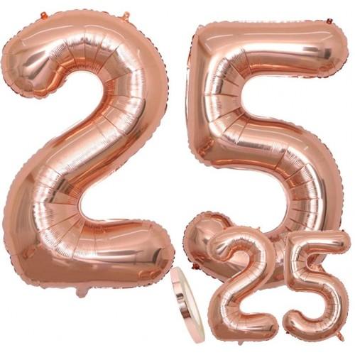 Set palloncini numero 25 Rose Gold, giganti, XXL, per feste