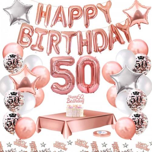 Kit Palloncini Compleanno 50 Anni Rosa Gold, per feste