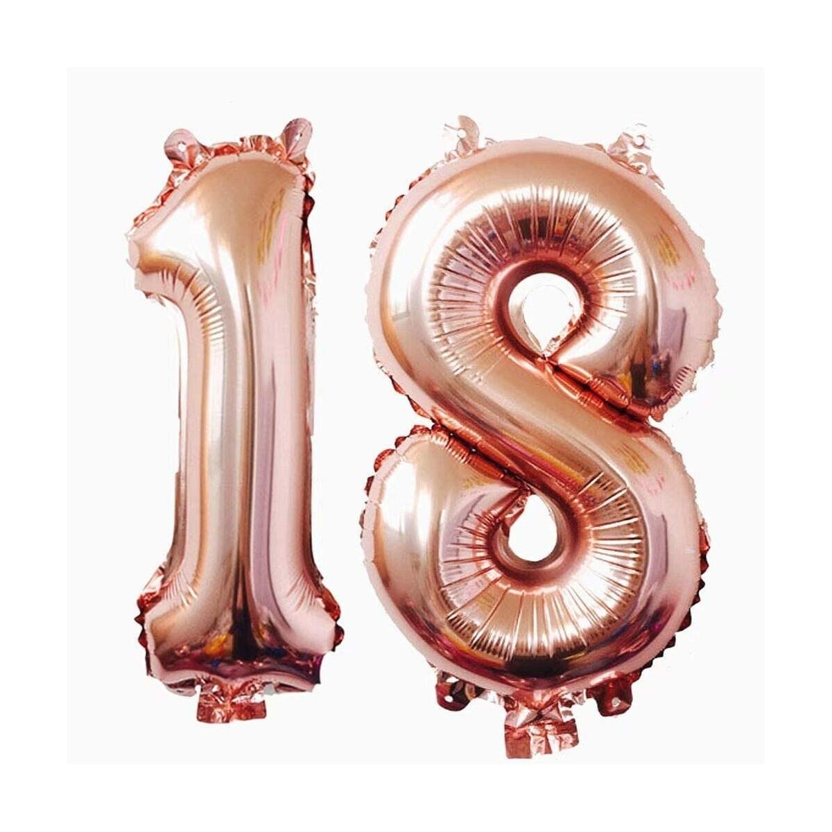 Set palloncini 18 Anni, numerici, Rose Gold, Chic, in alluminio