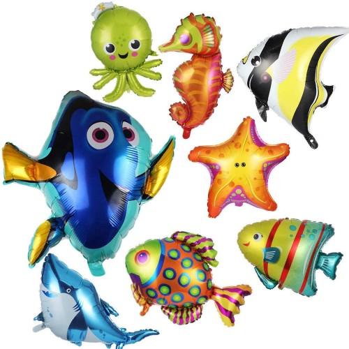 Set da 8 palloncini pesci marini, in alluminio, per feste