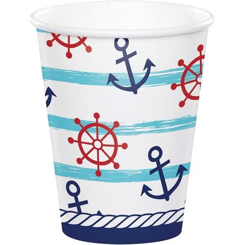 Set da 8 Bicchieri stile Marinaio, in cartoncino, usa e getta