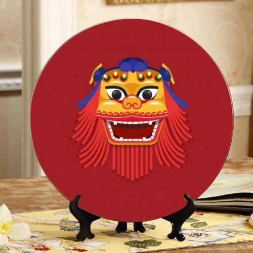 Piatto tema Leone del Capodanno Cinese, in ceramica