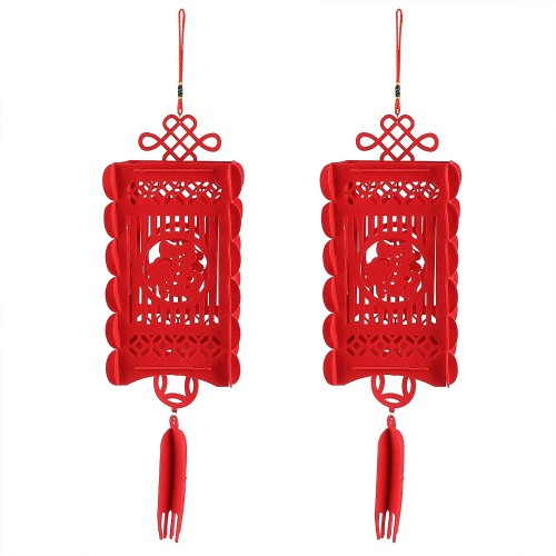 Set da 2 Lanterne Cinesi tradizionali rosse, per Capodanno o party