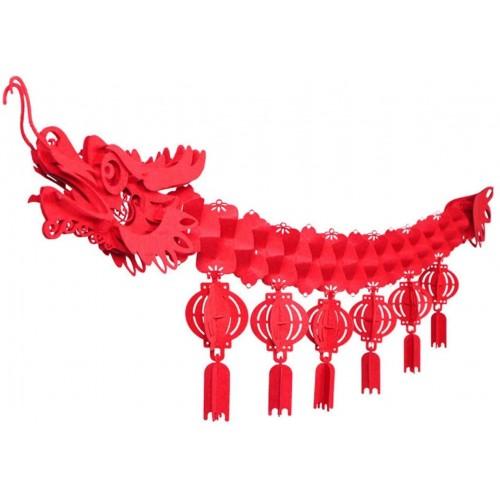 Set da 2 draghi in cartoncino decorativi per Capodanno Cinese, festoni