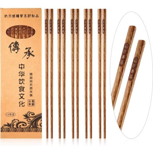 Set da 10 Paia di Bacchette di legno cinesi, per zuppe e sushi