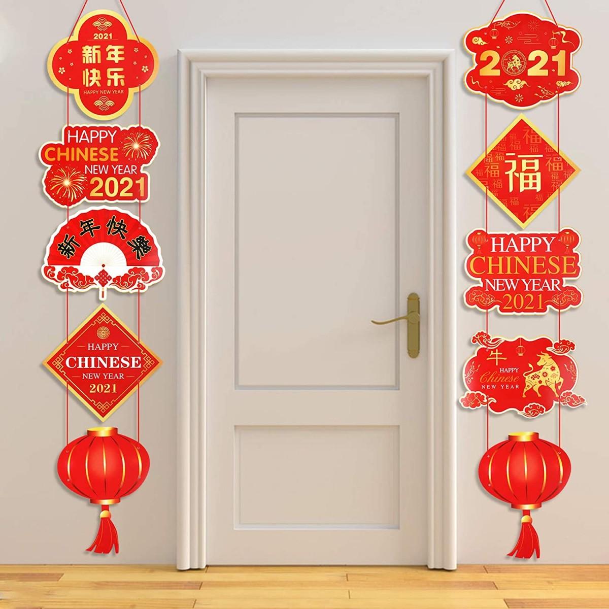 Set 2 Banner Capodanno Cinese, ornamenti, distici di Primavera