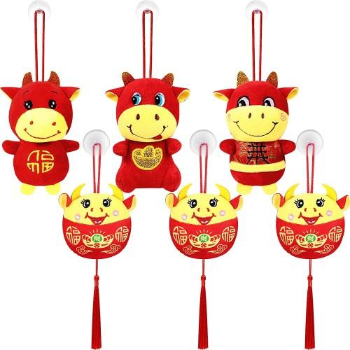 Set da 6 Ornamenti Cinesi, ciondoli decorativi, mucche capodanno Cinese