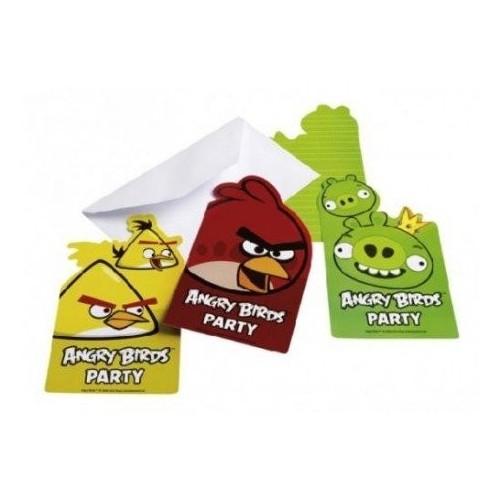 kit festa angry birds,12 inviti angry birds,12 cannucce angry birds,festa angry birds,palloncini angry birds