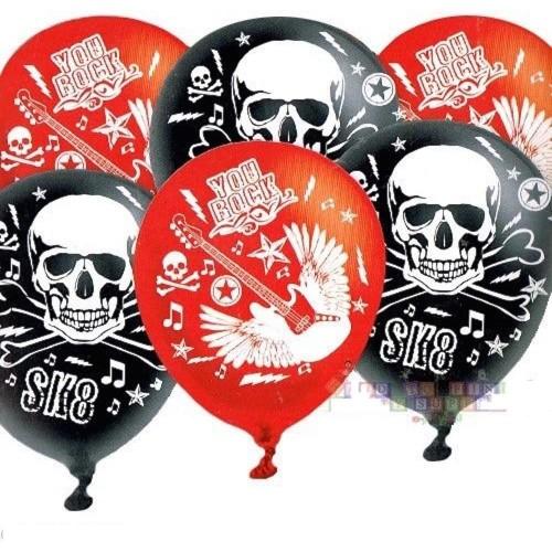 Set da 6 palloncini Rock Party in lattice, rossi e neri