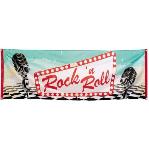 Striscione decorativo Rock'n Roll da 74 x 220 cm, banner per feste