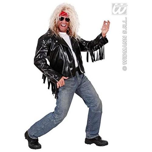 Giubbotto stile cantante Rock, in ecopelle, con frange, per adulti