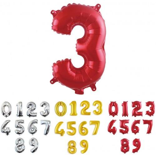 Palloncino rosso numerico, foil metallizzato, da 100 cm, per feste