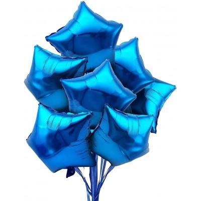 Set da 28 Palloncini blu forma stella, in alluminio, per feste