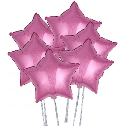 Set da 6 palloncini stella fucsia in alluminio, per feste, da 45 cm