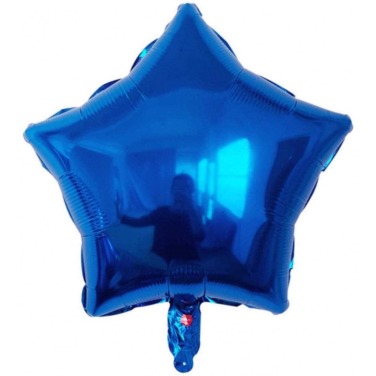 Set da 50 Foil blu forma stella, palloncini in lamina, da 45 cm