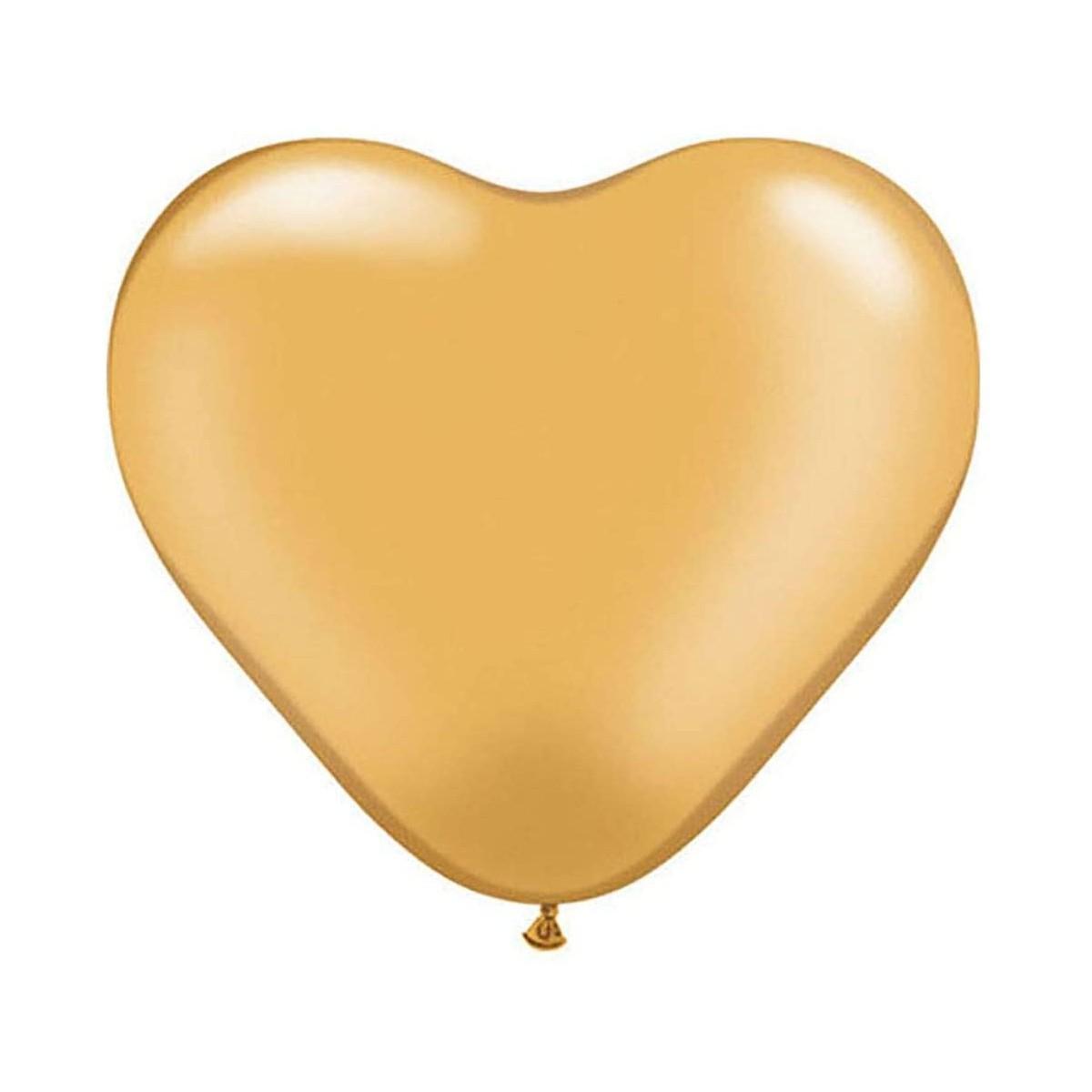 Palloncino forma cuore, colore oro, da 15 cm, in alluminio, per feste